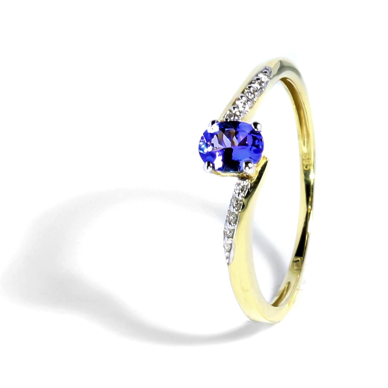Diamantový prsteň s tanzanitom