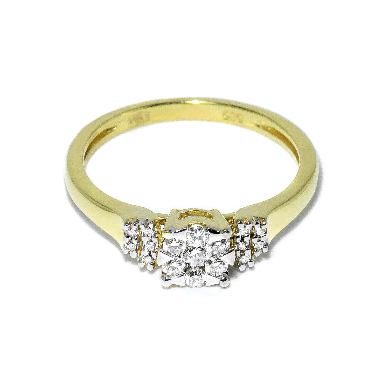 Elegantný prsteň s použitím sedemnástich bielych diamantov