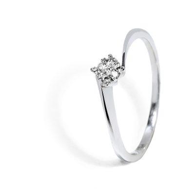 Jednoduchý prsteň zo bieleho zlata s diamantom