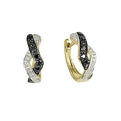Kombinované diamantové náušnice v žltom zlate
