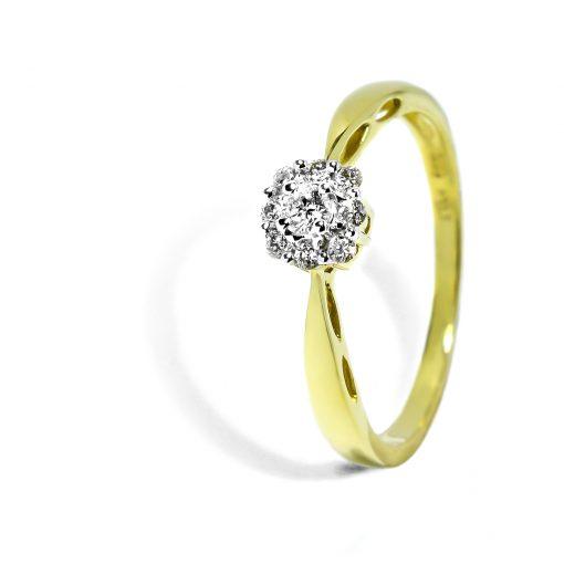 Prsteň zo zlata s diamantmi