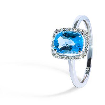 Nádherný diamantový prsteň s topásom