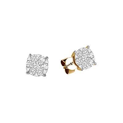 Jemné diamantové naušnice v žltom zlate