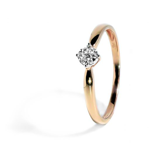 Jemný zlatý prsteň s osadenými diamantmi z ružového zlata