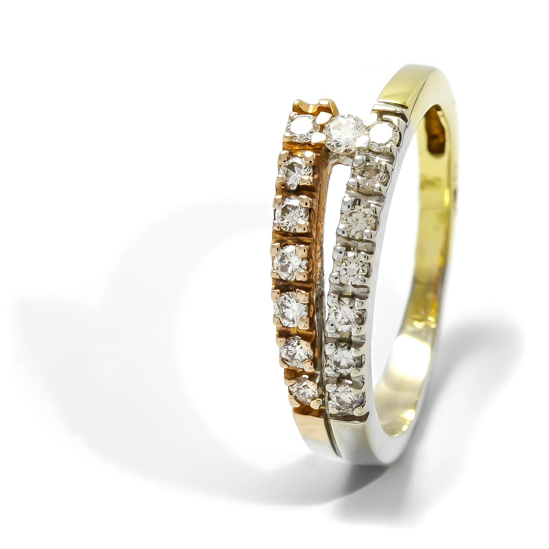 Elegantný zlatý prsteň s diamantmi