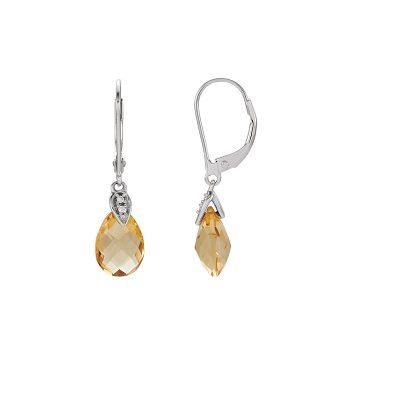 Zaujímavé diamantové náušnice s Citrínom z bieleho zlata