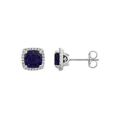 Luxusné diamantové náušnice so Zafírom z bieleho zlata