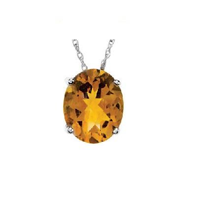 Diamantový prívesok s Citrínom z bieleho zlata