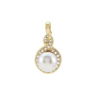 Zaujímavý diamantový prívesok s Perlou zo žltého zlata