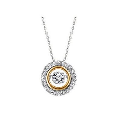 Kombinovaný diamantový prívesok z bieleho a zlteho zlata