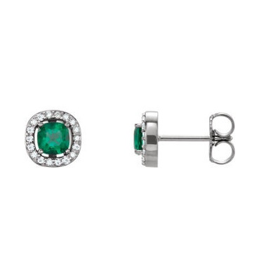 Elegantné diamantové naušnice so Smaragdom v bileom zlate