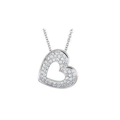 Diamantový prívesok v tvare srdca v bielom zlate