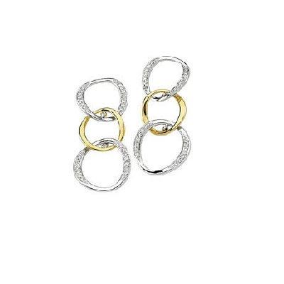 Kombinované diamantové náušnice z bieleho a žltého zlata