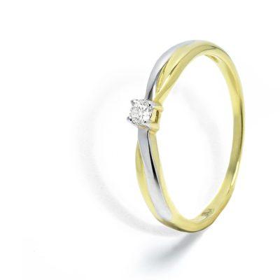 Kombinovaný diamantový prsteň