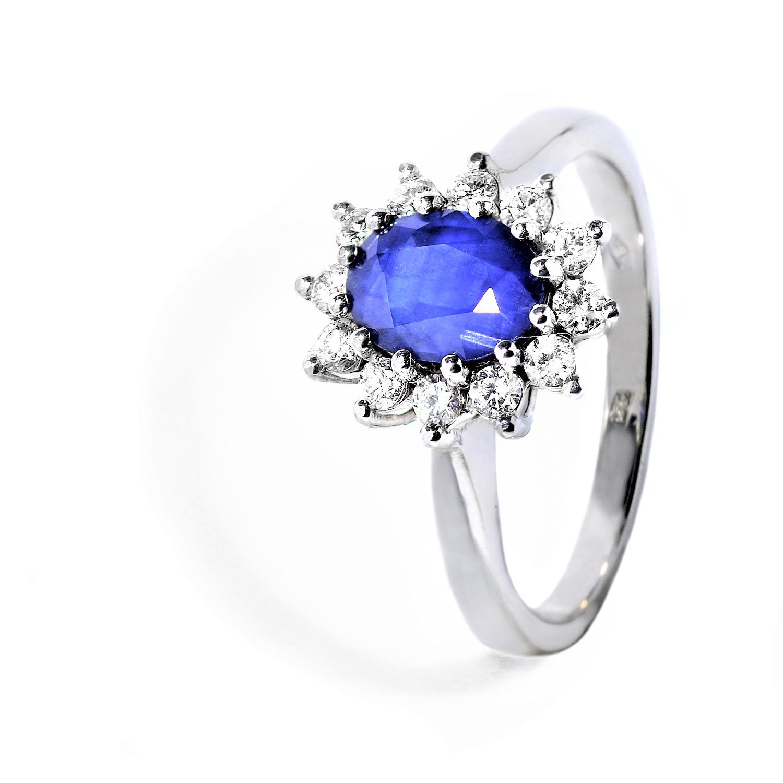 Luxusný diamantový prsteň s nádherným Zafírom
