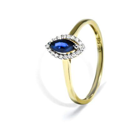 Vynimočný diamantový prsteň so Zafírom
