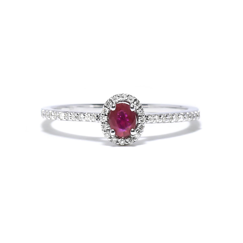 Diamantový prsteň s rubínom