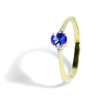 Jemný diamantový prsteň s tanzanitom