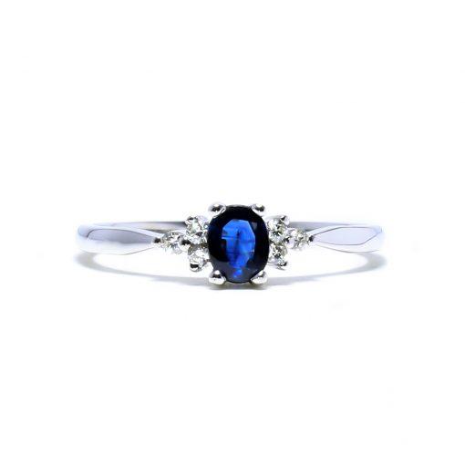 Elegantný diamantový prsteň s prírodným zafírom