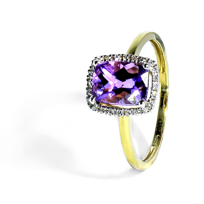Vynímočný zlatý diamantový prsteň s ametystom