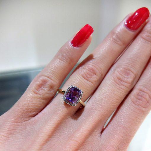 Zlatý diamantový prsteň s ametystom