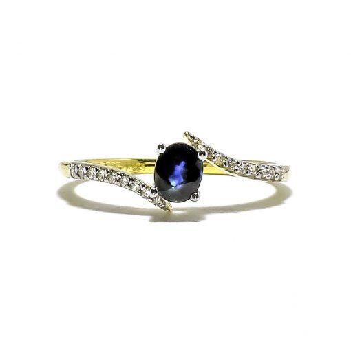 Elegantný diamantový prsteň so Zafírom