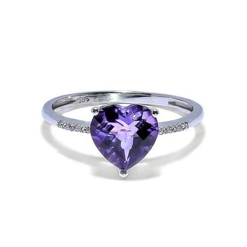 Romantický diamantový prsteň s Ametystom