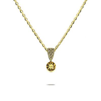 Zlatý prívesok s diamantmi Champagne a citrínom