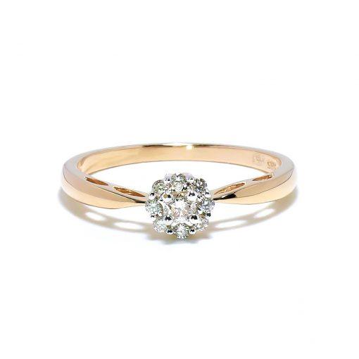 Jedinečný zásnubný prsteň s diamantmi z ružového zlata