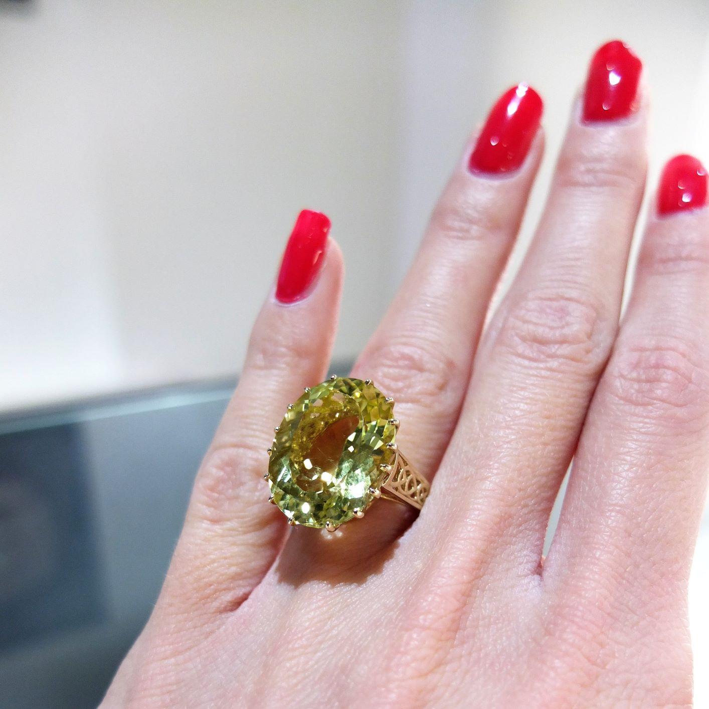 Luxusný prsteň zo žlteho zlata s prírodným Citrínom