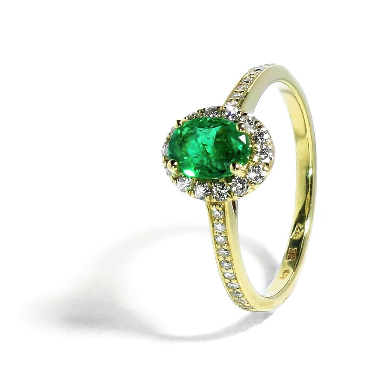 Diamantový prstienok s nádherným Smaragdom