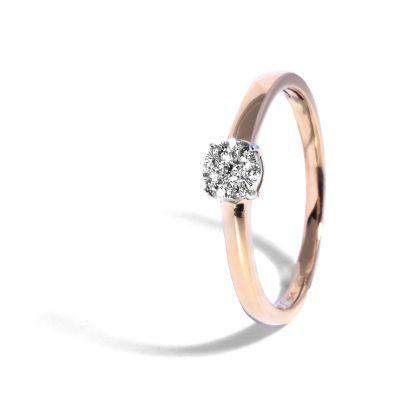 Elegantný diamantový prsteň z ružového zlata