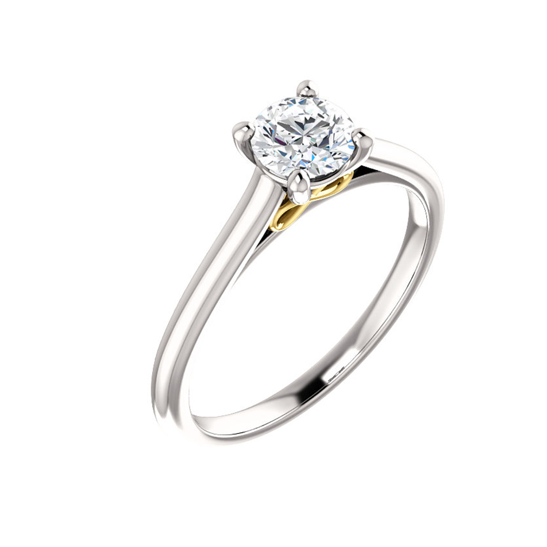 Kombinovaný diamantový prsteň z bielo-žltého zlata
