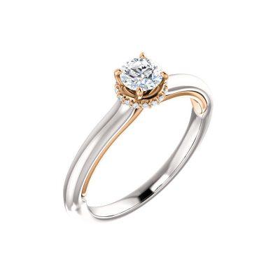 Jedinečný diamantový prsteň v kombinácii bieleho a ružového zlata