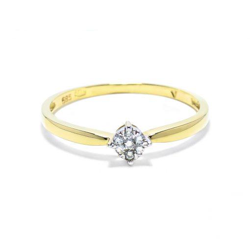 Jemný zlatý prsteň s osadenými diamantmi
