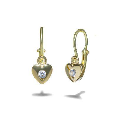 detske-nausnice-zlte-zlato-diamant-srdce