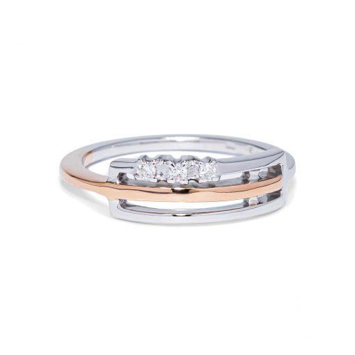 Diamantový prsteň z bieleho a ružového zlata 0.054ct