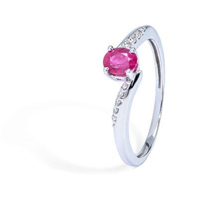Elegantný diamantový prsteň s Rubínom