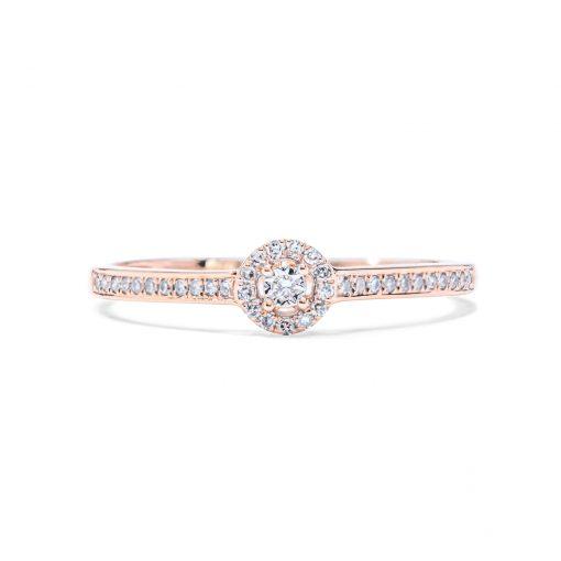 Jemný diamantový prsteň z ružového zlata