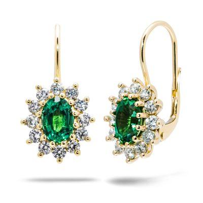 Smaragdové-náušnice-zo-žltého-zlata-s-briliantami-R4100